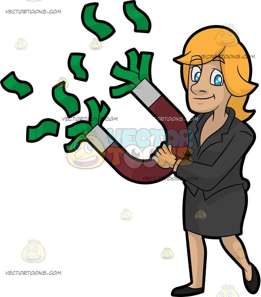 Women in suits clipart animation clip transparent library Cartoon A Woman Holding A Money Magnet vector clip art with ... clip transparent library