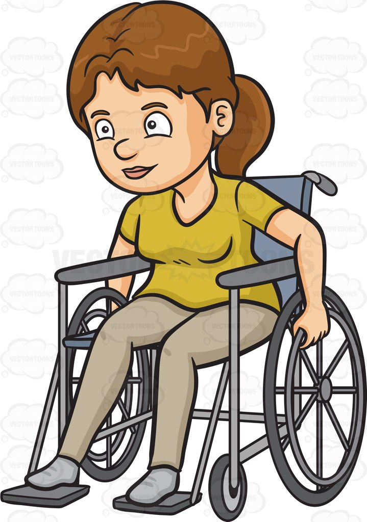 Women in wheelchair clipart graphic stock A Woman Rolling Her Wheelchair Forward Vector Clip Art ... graphic stock