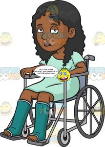 Women in wheelchair clipart png freeuse library A Sad Injured Black Woman In A Wheelchair png freeuse library
