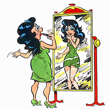 Women looking at herself in the mirror clipart vector free library Word Information - search results for: mirrored vector free library
