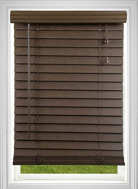 Women measuring windows for new blinds clipart freeuse DEZ Furnishings QADO204720 Corded 2 Inch Faux Wood Blind, Dark Oak, 20.5W x  72L Inches freeuse