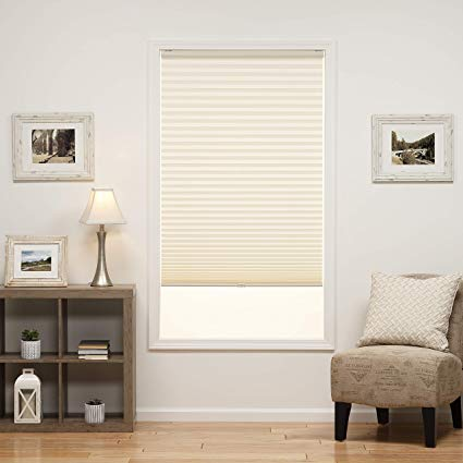 Women measuring windows for new blinds clipart clip free stock DEZ Furnishings QDER310640 Cordless Light Filtering Pleated Shade, 31W x  64L Inches, Ecru clip free stock