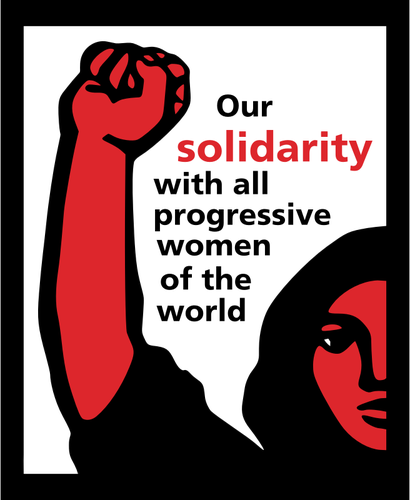 Women protesting clipart vector royalty free Solidarity with all progressive women of the world poster ... vector royalty free