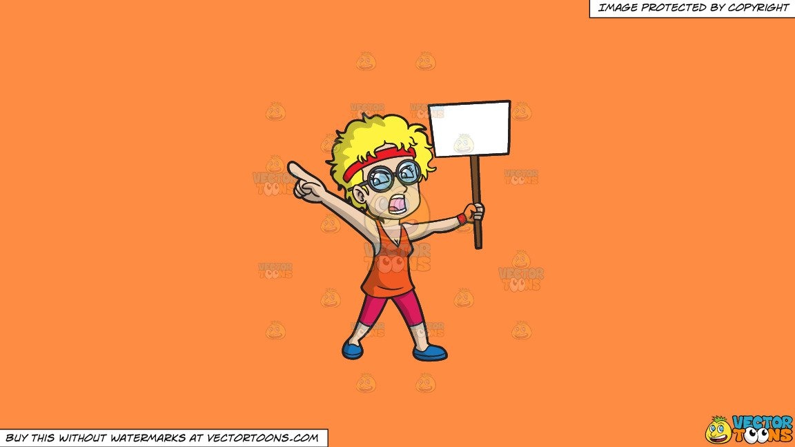 Women protesting clipart graphic free download Clipart: An Outspoken Woman Protesting A Cause on a Solid Mango Orange  Ff8C42 Background graphic free download