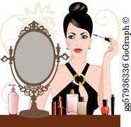 Women put on makeup clipart jpg royalty free Glamour Clip Art - Royalty Free - GoGraph jpg royalty free