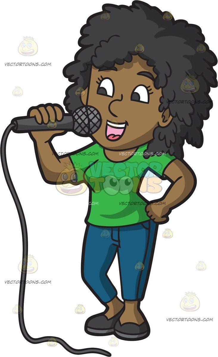 Women sing cartoon clipart graphic free download A Black Woman Singing Karaoke: A black woman with curly hair ... graphic free download