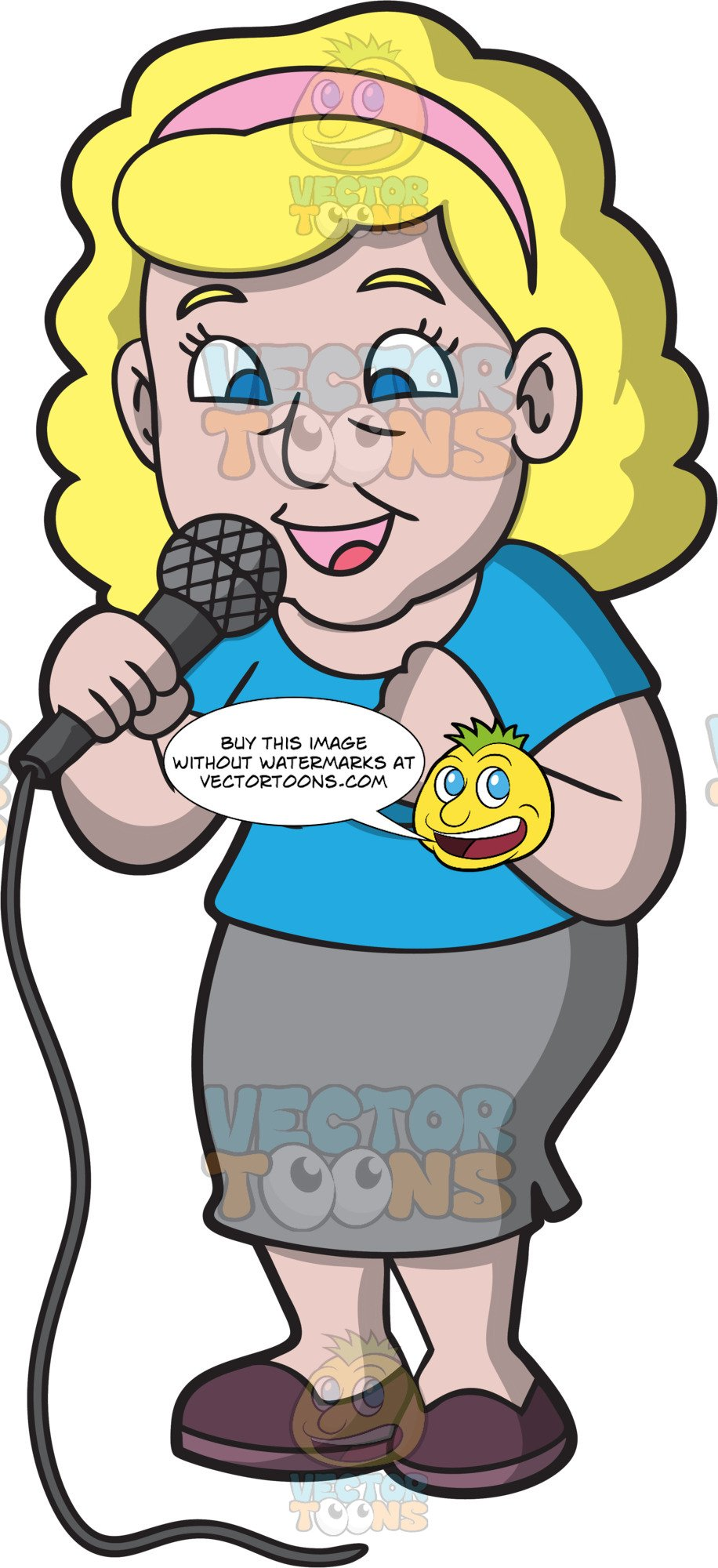 Women sing cartoon clipart picture transparent download A Woman Singing Her Favorite Karaoke Song picture transparent download