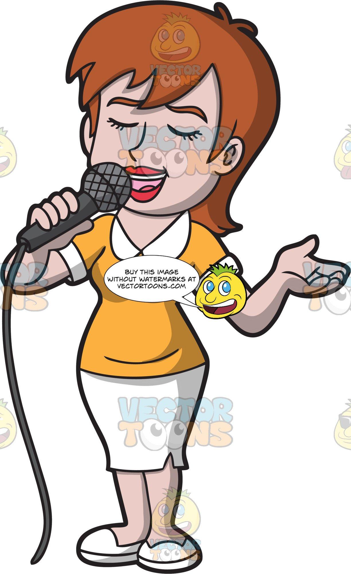 Women sing cartoon clipart vector A Woman Singing Her Favorite Pop Song vector