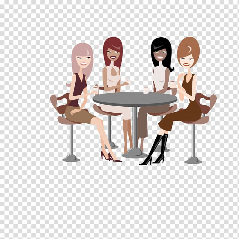 Women together friends clipart banner black and white Coffee Tea Cafe Caffeinated drink, Tea with friends for ... banner black and white