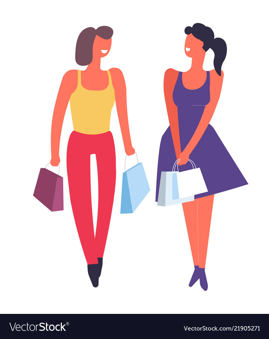 Women together friends clipart clipart freeuse stock Female friends shopping together buying clothes clipart freeuse stock