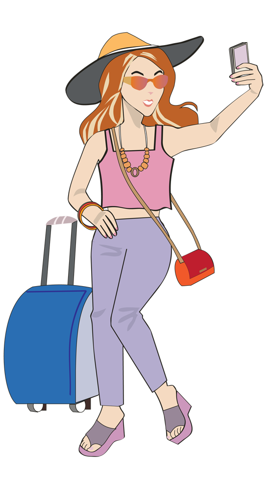 Women traveling caricatures clipart banner royalty free Traveling clipart woman traveler, Traveling woman traveler ... banner royalty free