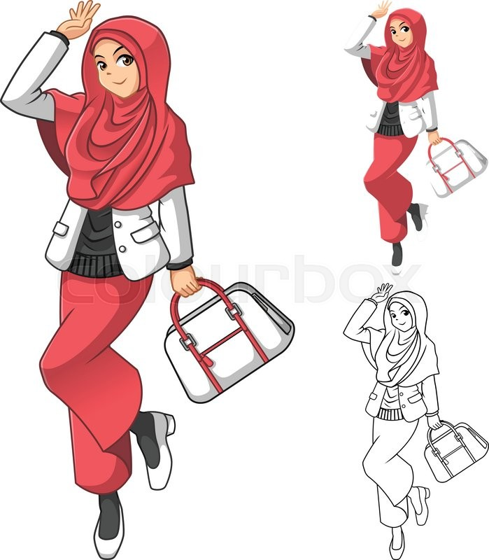 Women veiled clipart vector library Muslim woman fashion wearing pink veil ... | Stock vector ... vector library