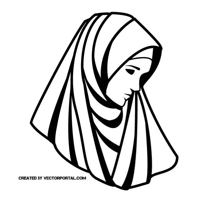 Women veiled clipart vector transparent stock Woman with veil vector drawing. | Girls and women free ... vector transparent stock