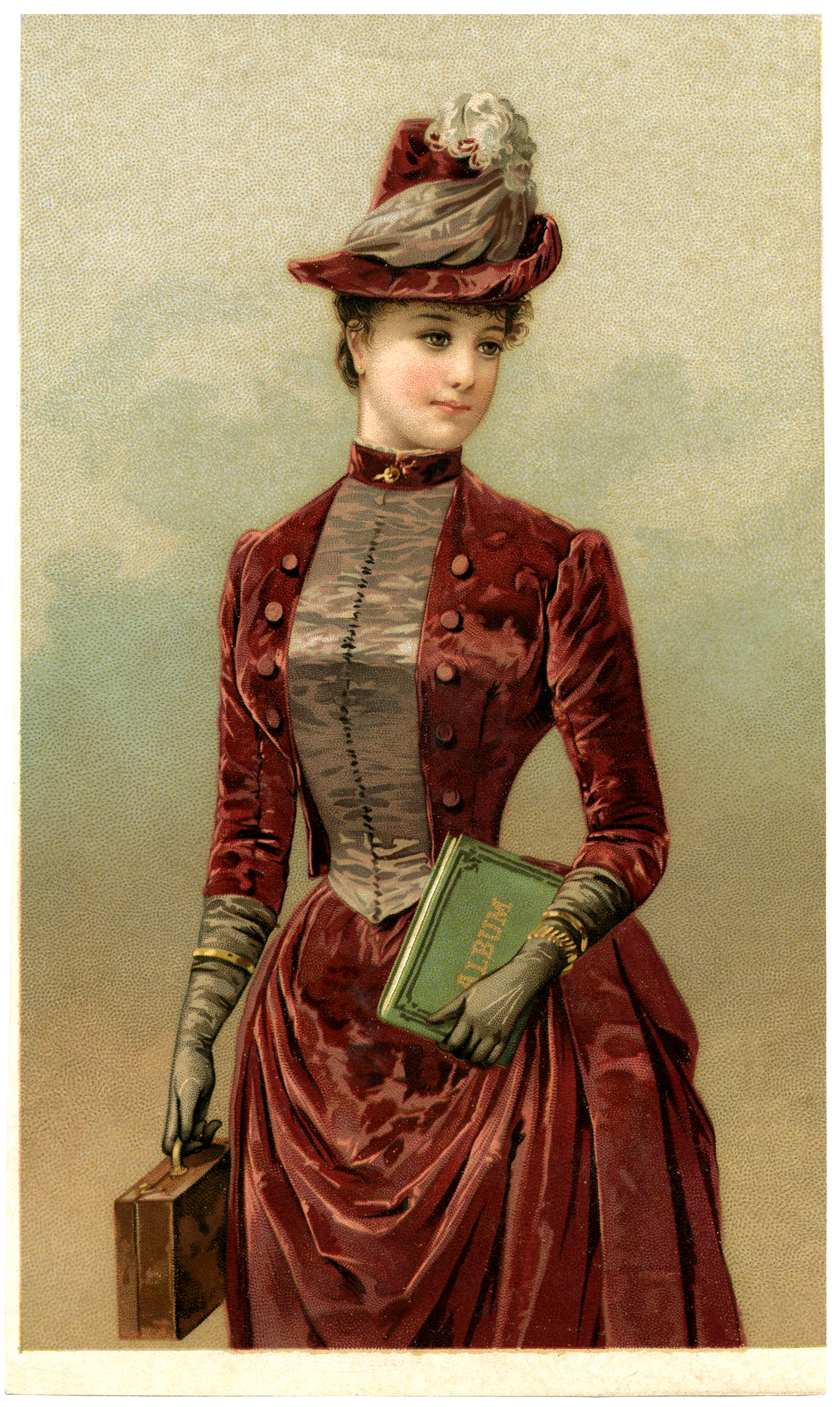 Women victorian glove clipart graphic free download Victorian Lady Image in Velvet Dress - The Graphics Fairy graphic free download