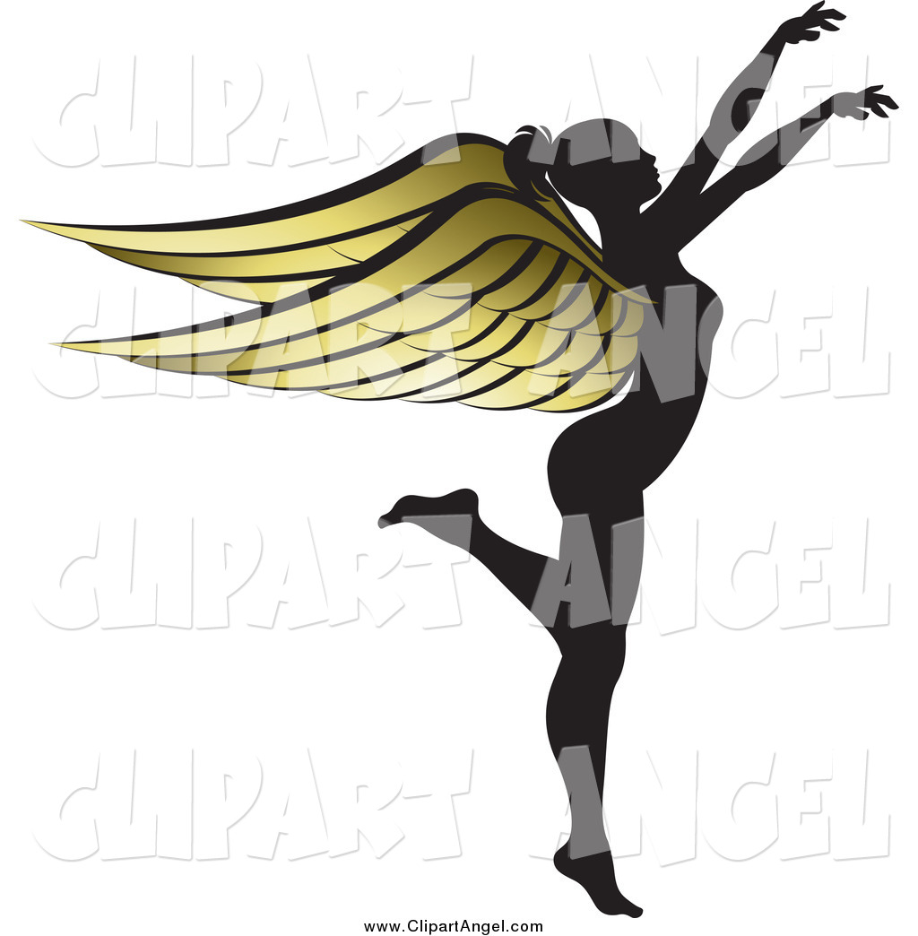 Women with wings clipart picture transparent download Illustration Vector of a Silhouetted Angel Woman with Golden ... picture transparent download