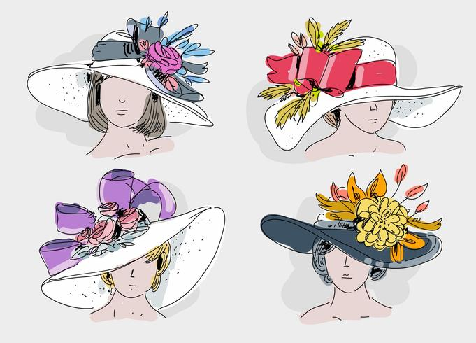Womens derby hat clipart clipart freeuse library Vintage Kentucky Derby Hat Hand Drawn Vector Illustration ... clipart freeuse library