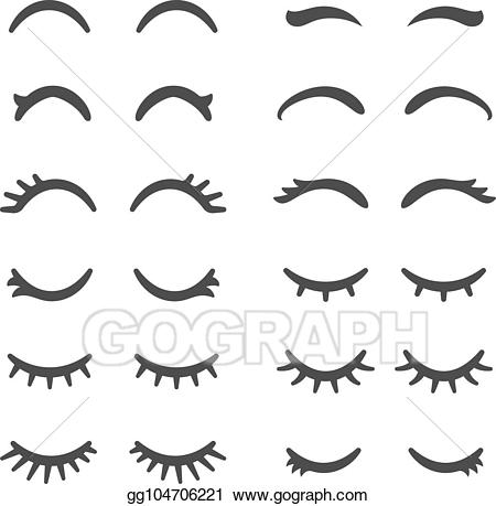 Womens eyes with lashes clipart clip stock Vector Stock - Pretty woman eyelashes. closed eyes for cute ... clip stock