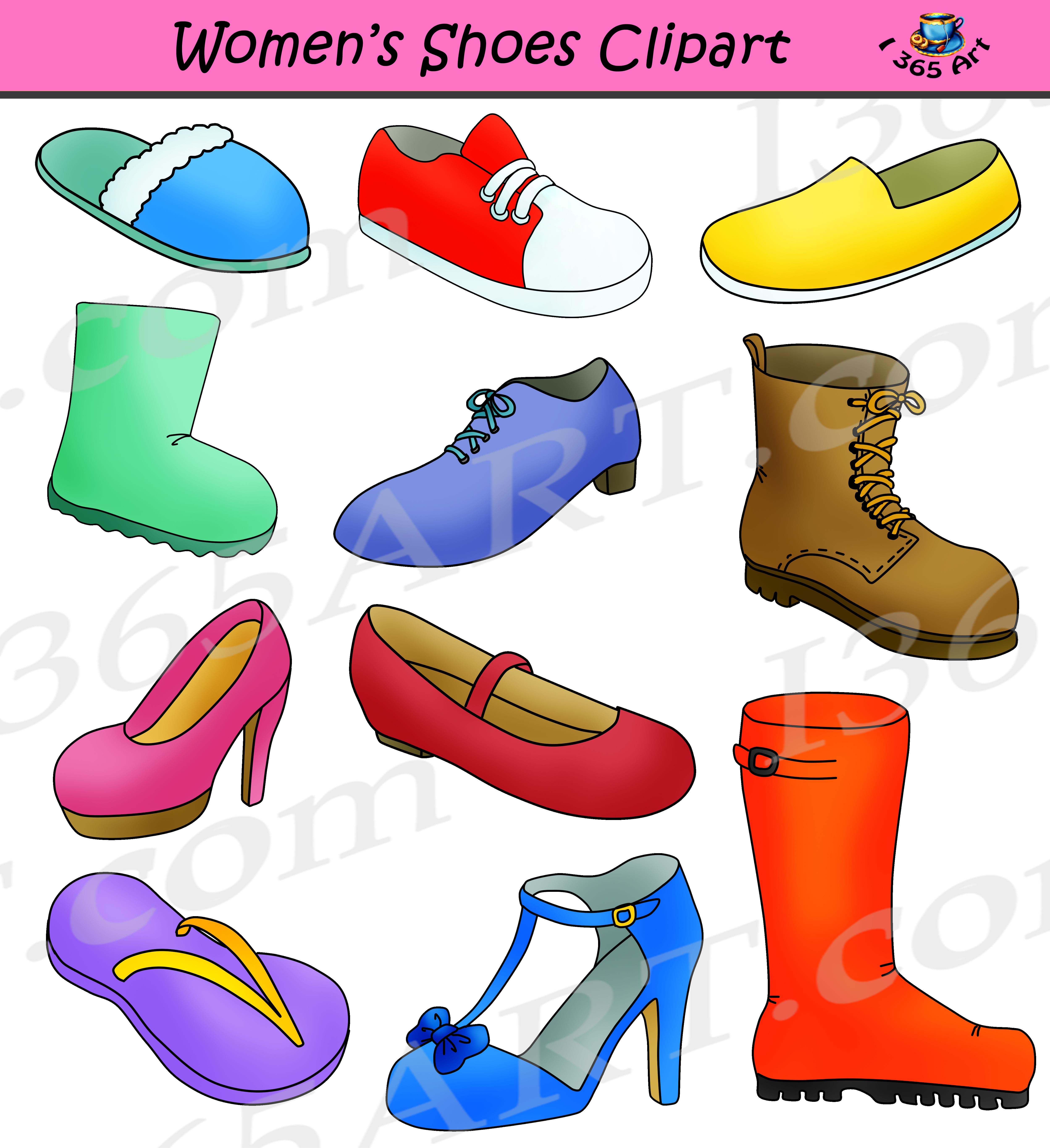 Womens shoes images clipart clip transparent stock Womens Shoes Clipart - Commercial Graphics clip transparent stock
