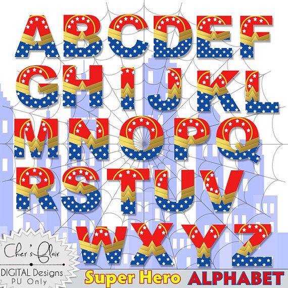 Wonder woman clipart letters graphic library download SUPERHERO ALPHABET LETTERS - Wonder Woman Digital Letters ... graphic library download