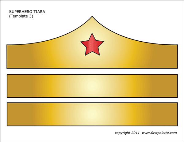 Wonder woman tiara clipart vector free Superhero Crown or Tiara Templates | Free Printable ... vector free