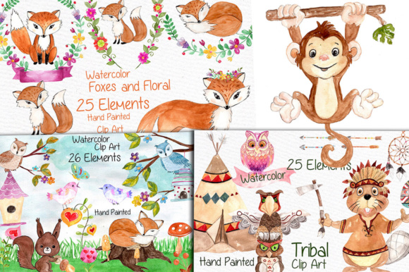 Wood animals clipart clip royalty free Watercolor Bundle-kids clipart wood animals clip royalty free
