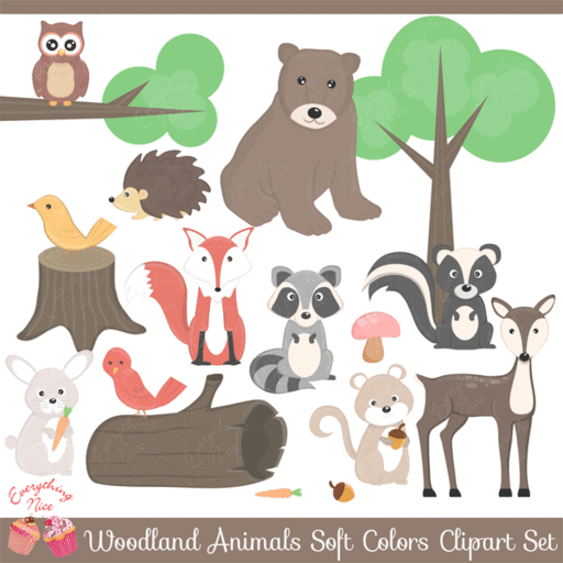 Wood animals clipart picture freeuse stock Woodland Animals Clipart Set — mygrafico picture freeuse stock