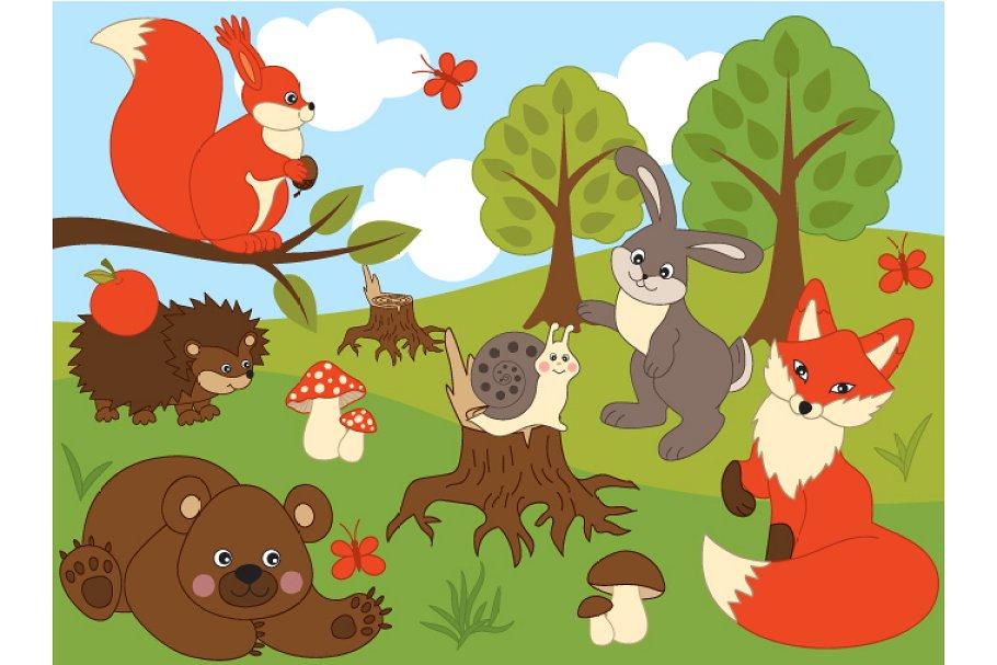 Wood animals clipart svg transparent stock Woodland Animals svg transparent stock