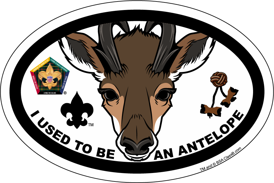 Wood badge antelope clipart vector black and white download Wood Badge Antelope Critter Oval Magnet vector black and white download
