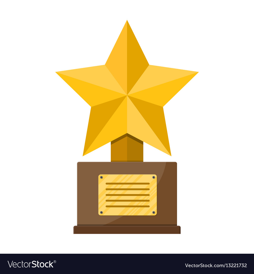 Wood base clipart free image stock Trophy winner gold star cup with wooden base image stock