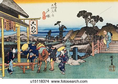 Wood block print clipart clip art transparent Drawings of Scenery of Totsuka in Edo Period, Painting, Woodcut ... clip art transparent