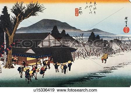 Wood block print clipart freeuse library Stock Illustration of Scenery of Ishibe in Edo Period, Painting ... freeuse library