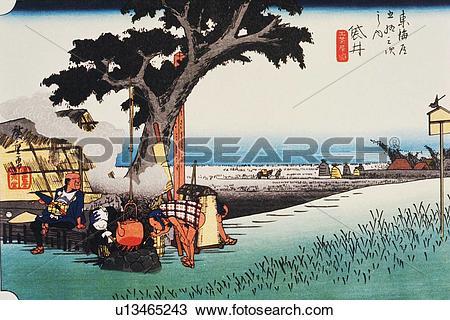 Wood block print clipart svg royalty free stock Drawing of Scenery of Fukuroi in Edo Period, Painting, Woodcut ... svg royalty free stock