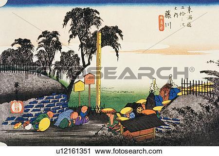 Wood block print clipart royalty free stock Clipart of Scenery of Fujikawa in Edo Period, Painting, Woodcut ... royalty free stock