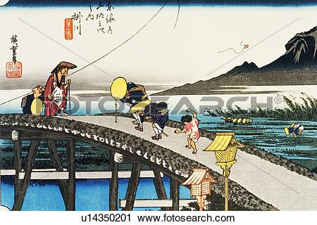 Wood block print clipart png transparent stock Clipart of Scenery of Kakegawa in Edo Period, Painting, Woodcut ... png transparent stock