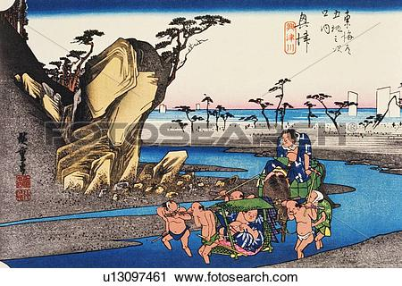 Wood block print clipart png freeuse library Clipart of Scenery of Okitsu in Edo Period, Painting, Woodcut ... png freeuse library