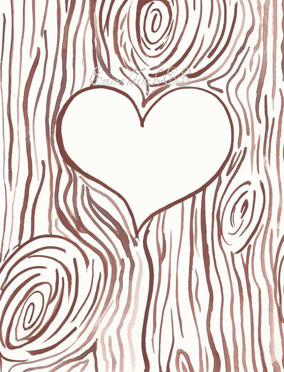Wood carving heart clipart png freeuse library Template for Initials carved into a tree trunk, JPG file ... png freeuse library