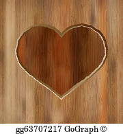 Wood carving heart clipart png library download Carved Heart Clip Art - Royalty Free - GoGraph png library download