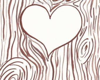 Wood carving heart clipart clip black and white download Template for Initials carved into a tree trunk, JPG file ... clip black and white download