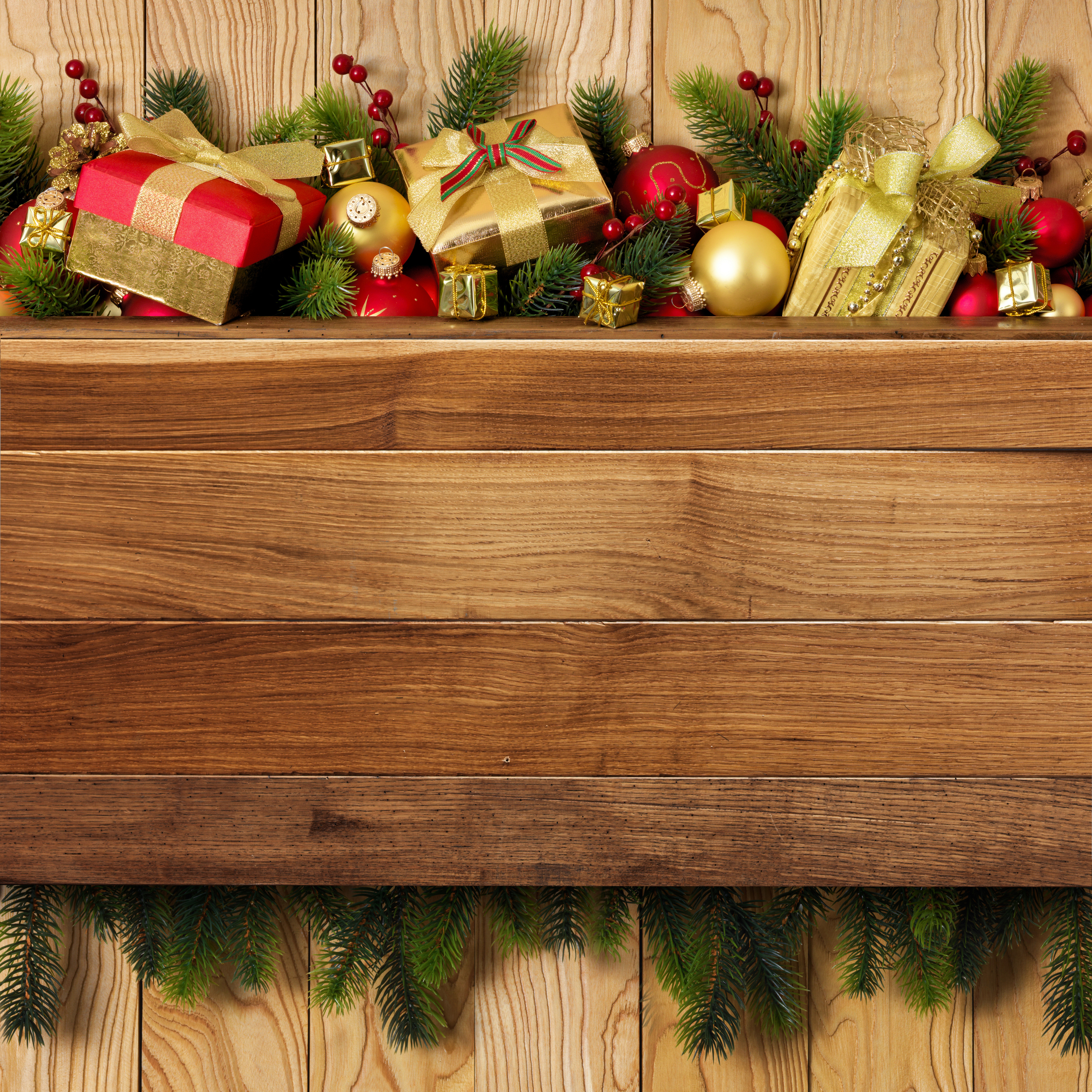 Wood christmaas clipart picture freeuse library Christmas Wooden Background with Gifts and Decorations ... picture freeuse library