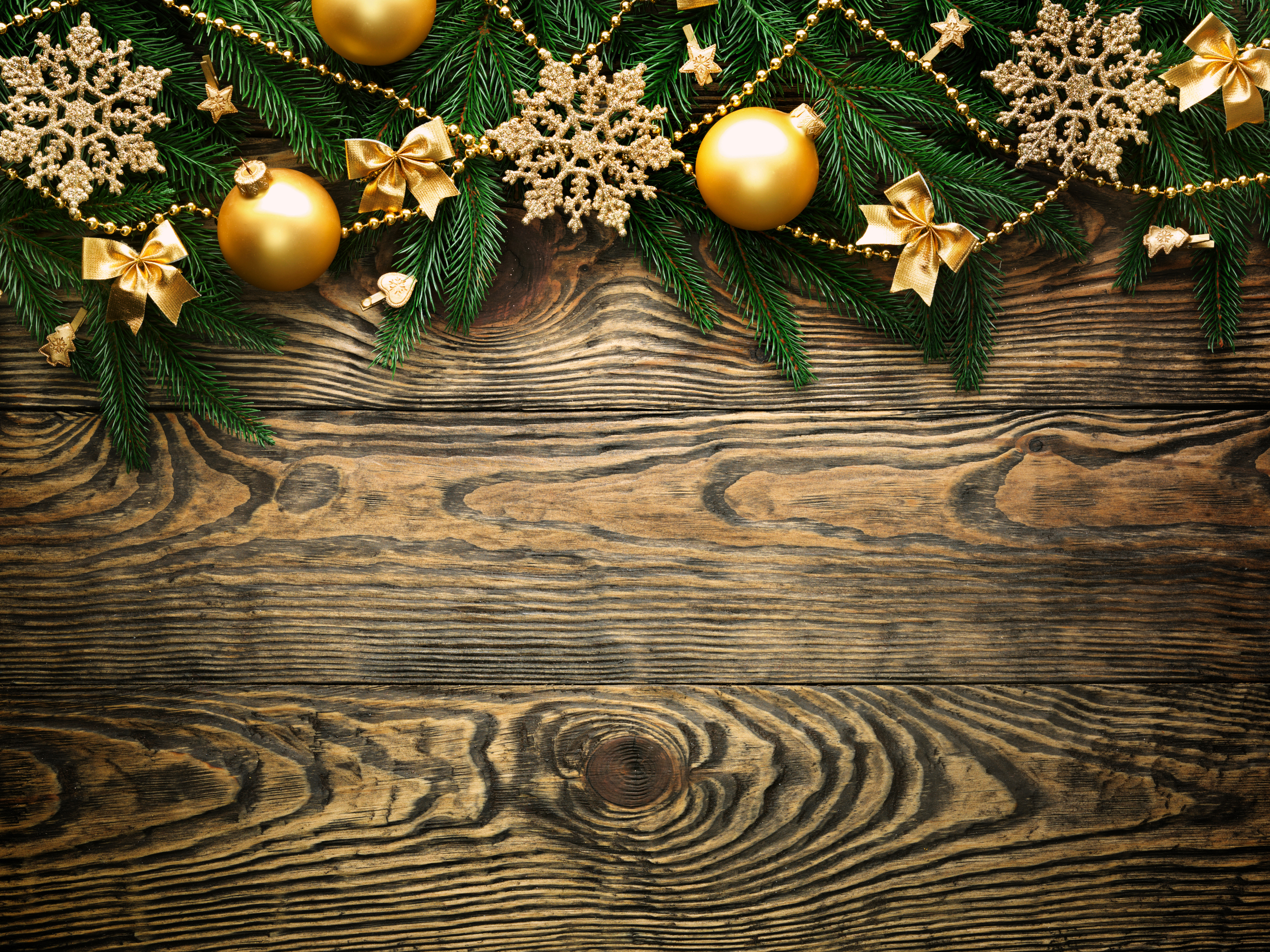 Wood christmaas clipart graphic free library Wooden Christmas Background with Gold Ornaments | Gallery ... graphic free library