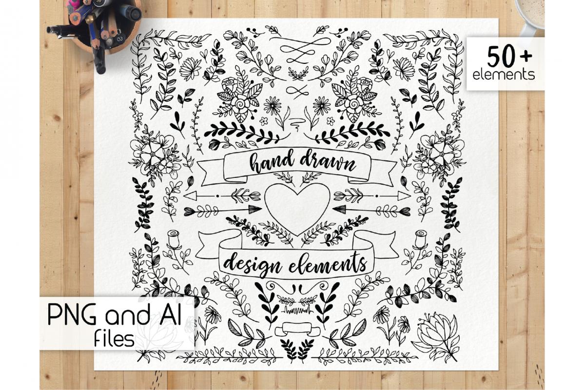 Wood clipart doodle png transparent Handdrawn design elements - botanical clipart, floral doodle png transparent