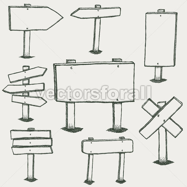 Wood clipart doodle clip art library download Doodle Wood Signs And Direction Arrows clip art library download