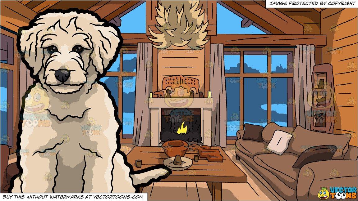Wood clipart doodle jpg A Sad Golden Doodle Dog and Wood Cabin Living Room Background jpg