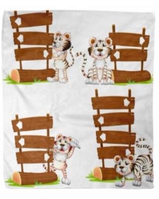 Wood creature soft clipart vector library library KDAGR KDAGR Flannel Throw Blanket White Tiger Wooden Signs Arrow Clip  Clipart Creature Soft for Bed Sofa and Couch 58x80 Inches from Walmart |  Real ... vector library library