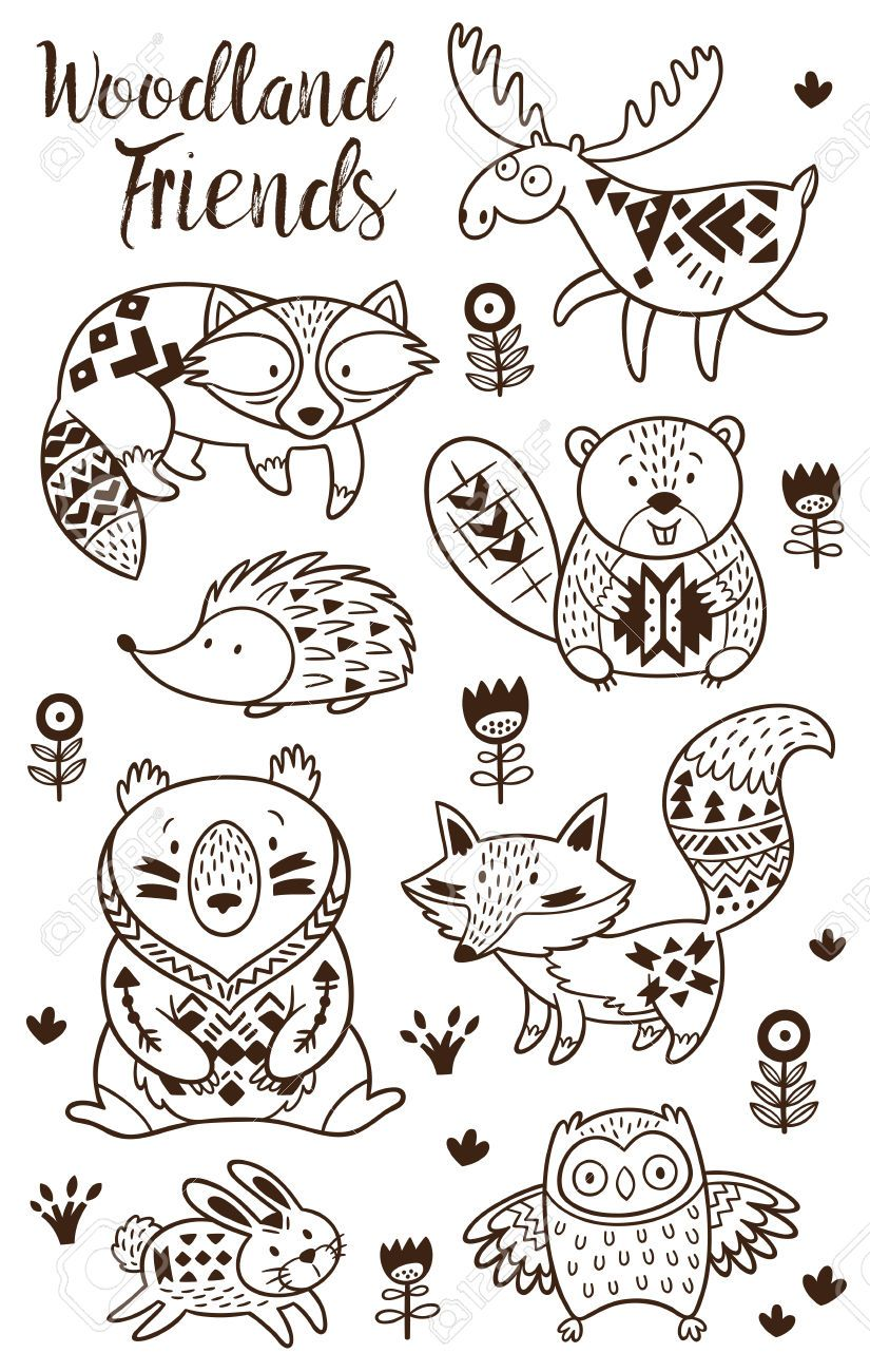 Wood creature soft clipart vector free library Stock Vector | Grandmas house | Animal coloring pages ... vector free library