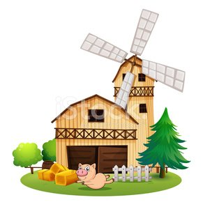 Wood farm house clipart clipart library stock Wooden Farmhouse With A Playful Pig premium clipart ... clipart library stock