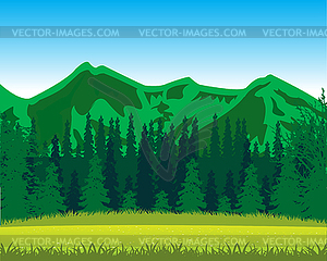 Wood landscaping clipart clip library Mountains and wood by summer - vector EPS clipart clip library