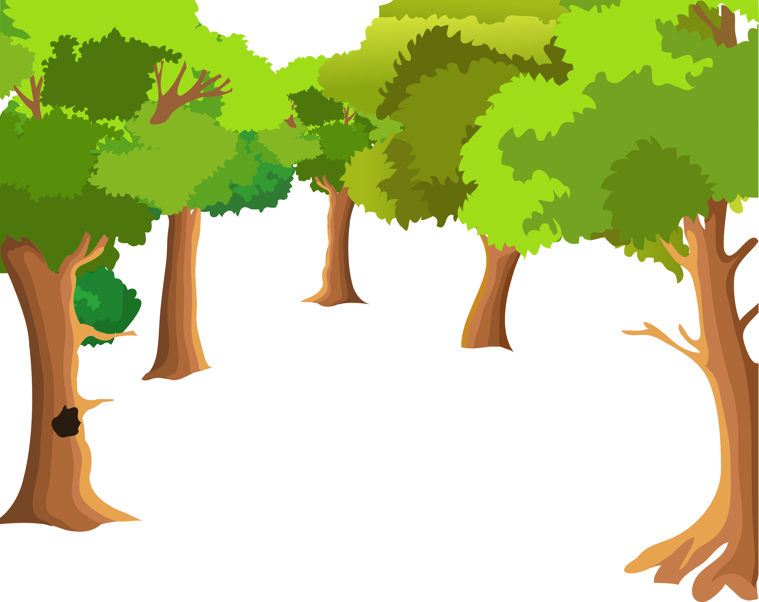 Wood landscaping clipart vector freeuse stock Landscape painting Cartoon Drawing - Cartoon forest tree ... vector freeuse stock