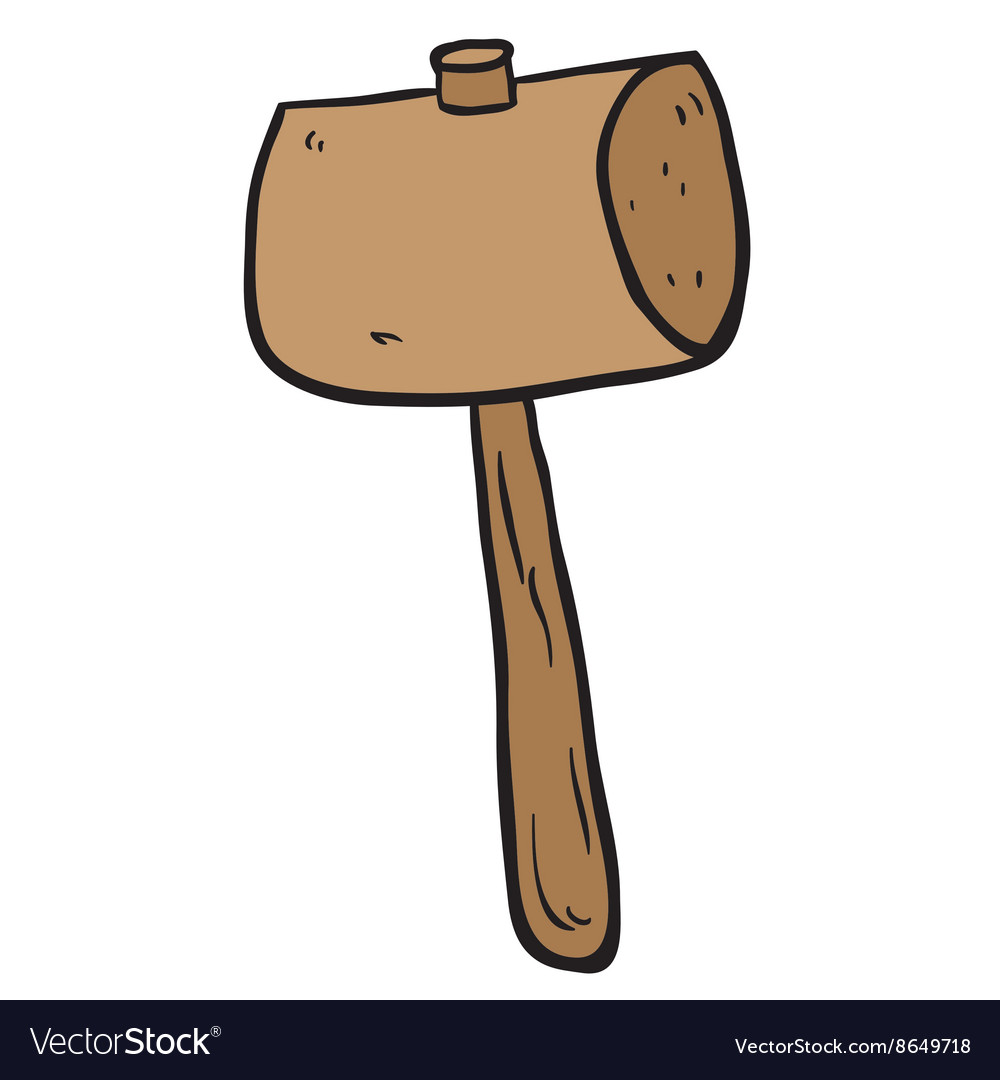 Wood mallet clipart image download Freehand drawn cartoon wooden mallet image download