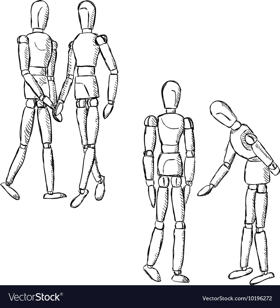 Wood mannequin clipart image Wooden mannequin art figurines in pairs vector image image